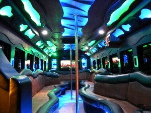 The lavish interior of a party bus